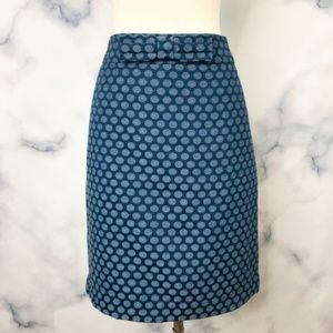 LOFT Polka Dot Bow Pencil Skirt Ann Taylor